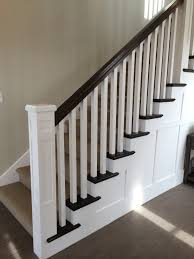Staining Stair Banister White Newel Post Charcoal Stained Handrail White Square