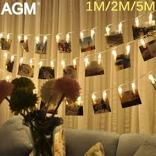agm 5m garland led string light battery photo clip