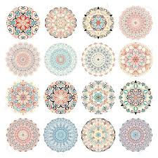 isolated mandala patterns set colorful ornaments floral