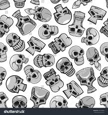 Halloween Skeleton Pattern by Skulls Seamless Pattern Wallpaper Scary Skeleton Stock Vector