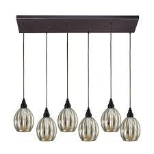 multi light pendant light with mercury glass and 6 lights 46007