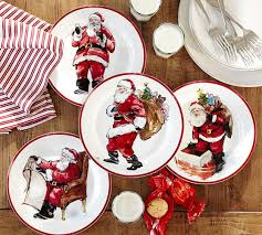 painted santa claus dinnerware pottery barn