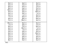 multiplication printable multiplication timed test free math
