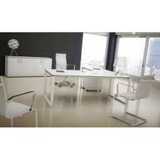 bureau en verre blanc bureau de direction plan droit retour stratifié imitation verre