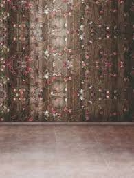 Studio Curtain Background 5x7ft Blue Wall Flowers Wood Floor Studio Backdrop Photography