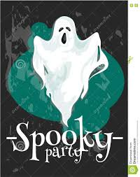 halloween party poster with spooky ghost stock vector image