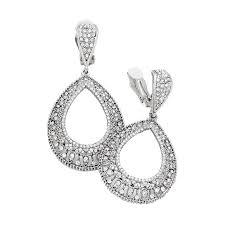 clip on dangle earrings silver rhinestone filigree clip on dangle earrings clip on