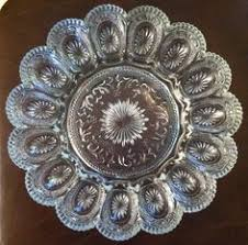 glass egg plate vintage brockway glass american concord pattern egg plate
