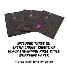 pixel wrapping paper pixel mine crafter style wrapping paper 3 pack enderman design