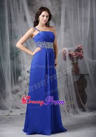 style royal blue one shoulder beaded prom formal dress