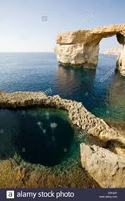 gozo dwejra bay the azure window rock arch where walking on the