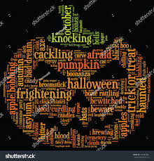 halloween black background pumpkin halloween word cloud vector shape orange stock vector 152381984