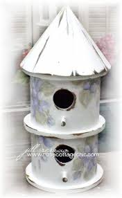 cottage round birdhouse white with hand painted violets