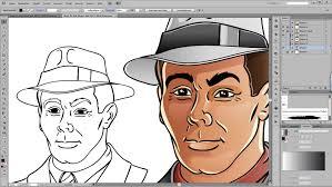 drawn face illustrator pencil and in color drawn face illustrator