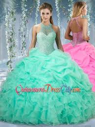 aqua green quinceanera dresses beautiful halter top beaded and ruffled discount quinceanera dress