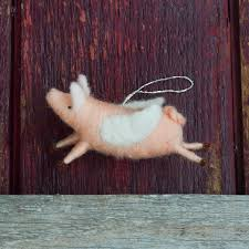 when pigs fly needle felted flying pig christmas ornament