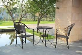 rattan bistro set 3 piece furniture table and chairs garden