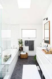 Gray Tile Bathroom - gray and white bathroom with classic subway tile home design