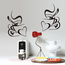 online get cheap kitchen cupboard stickers aliexpress com 1pc love heart coffee black art wall decals waterproof for kitchen cupboard removable pvc oilproof for