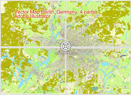 Berlin Germany Map by Berlin Germany Printable Vector Street City Plan Map In 4 Parts