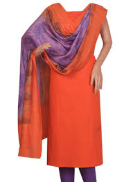 orange and blue combination buy orange and purple combination cotton silk salwar suit