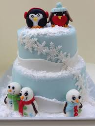 Christmas Cake Decorations Figures by Children U0027s Birthday Cakes Winter Themed Cake With Fondant