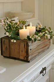 Wooden Centerpiece Boxes by Simple And Rustic Centerpiece Wood Box Greenery And Candles