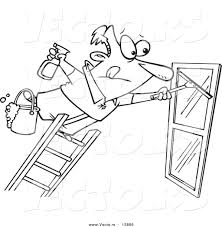 vector of a cartoon window cleaner leaning far over a ladder