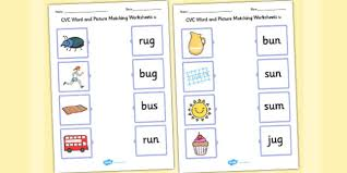 word and picture matching worksheets u cvc word match