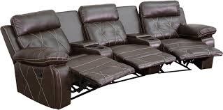 reel comfort series 3 seat reclining brown leather theater seating