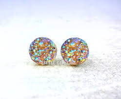changing earrings 8mm 10mm or 12mm color changing druzy stud
