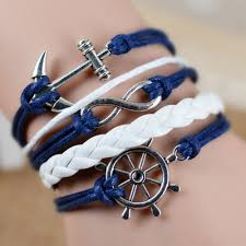 anchor bracelet women images Fashion vintage infinity anchor hook artificial leather bracelet jpg
