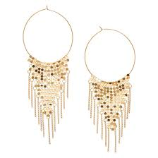 icing earrings gold tone triangular mesh hoop earrings icing us