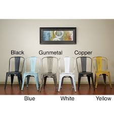 Modern High Back Dining Chairs Vintage Antique Finish Modern Style French Sheet Metal Cafe And