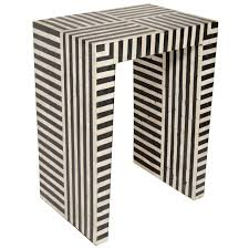 black and white side table indian bone inlay black and white striped side table at 1stdibs