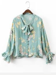 floral blouse tie neck bell sleeve floral blouse shein sheinside