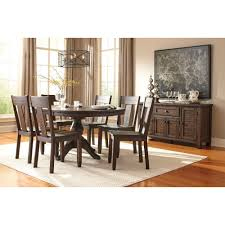 ashley furniture trudell round drum extension pedestal table set