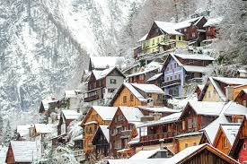 Winter Houses Photo Austria Hallstatt Winter Snow Cities Houses