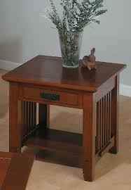 mission style end tables viejo mission style end table w drawer in brown oak finishes