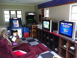small video game and arcade gaming room in the garage by