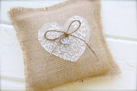 burlap lace ring bearer pillow great home decor wonderful ring