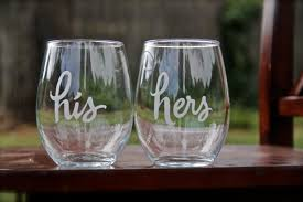 his and hers stemless wine glasses etched wine glasses