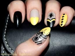 black and yellow nail art by paulina domoradzka nailpolis