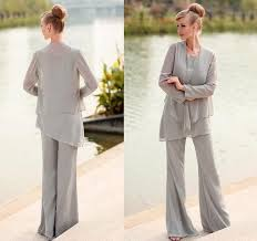 dressy pant suits for weddings 3 pcs light grey chiffon suit with jacket