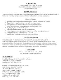 dental assistant resume no experience resume ideas