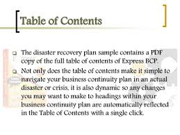business continuity plan sample pages