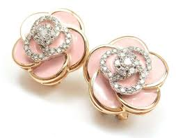flower earrings roberto coin gold pink enamel and diamonds flower earrings