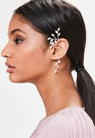 ear cuff silver leaf ear cuff missguided