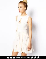 oasis asis exclusive skater dress in white lyst