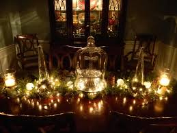 Christmas Table Decorating Ideas 2015 Green Pine Leaves And White Lamp Also Candle With Glass Holder On